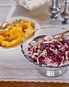 Cabbage salad and pumpkin puree