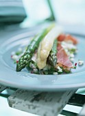 Asparagus with ham on apple and pepper salsa