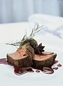 Beef fillet with kale and port jus