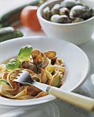 Tagliatelle orto e mare (Pasta with clams & vegetables)