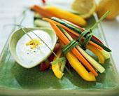 Sliced Vegetables with Dip