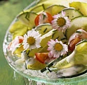 Mixed salad with yoghurt dressing and daisies
