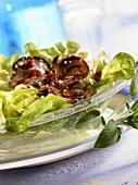 Oak leaf lettuce with oyster mushrooms & bacon vinaigrette