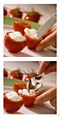 Stuffing tomatoes with soft cheese