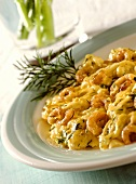 Scrambled egg with shrimps and dill
