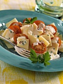 Cheese and tomato salad with mustard sauce