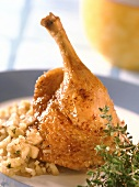 Roast duck with apple and onion stuffing