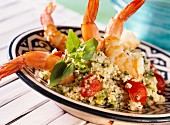 Couscous with jumbo prawns and tomatoes