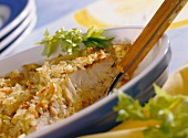 Rice and fish casserole with sesame