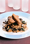 Duck breast with mushroom risotto and spinach