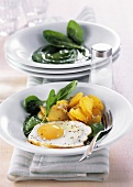 Creamed spinach with fried egg and roast potatoes