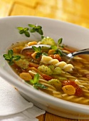 Lentil & vegetable soup with fusilli & balsamic vinegar