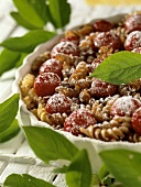 Sweet pasta bake with morello cherries and nuts