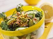 Cucumber salad with shrimps and garden cress