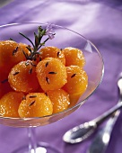Melon balls in lavender and rosemary marinade