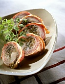 Rabbit roulade with herb stuffing