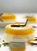 Lebanese dessert: orange custard flan (Mouhalabieh)
