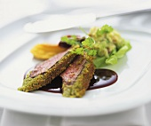 Loin of venison with pistachio crust