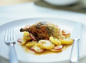 Chicken with herbs from the oven with potato salad
