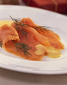 Smoked salmon with whipped egg and mustard sauce