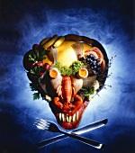 Symbolbild: Totenkopf aus Lebensmitteln
