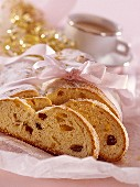 Butter stollen with candied orange & lemon peel & raisins
