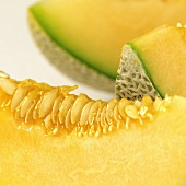 Slice of netted melon
