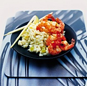 Scampi with rice and lemon grass