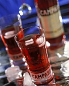 Campari with soda and ice cubes