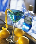 Sapphire Martini (cocktail with gin, vermouth and Curacao)