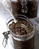 Mincemeat (spiced dried fruit mixture) in jars