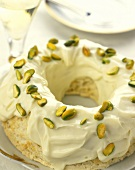 Angel food cake with pistachios