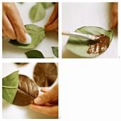 Making chocolate leaves