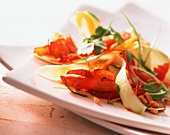 Green papaya salad with grilled lobster