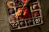 Various spices in typesetter's case