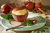 Apple with ice-cold yoghurt stuffing