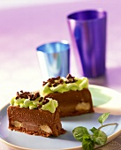 Chocolate and honey semifreddo with minted cream