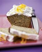 Poppy seed chocolate cake with lemon cream