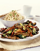 Finely-chopped beef with broccoli, from the wok