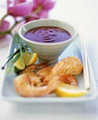 Shrimps with chili dip