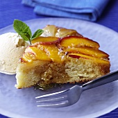 Caramelised peach tart with vanilla ice cream