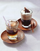 Hot drinks with espresso and chocolate cream