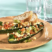 Courgette with vegetable and sheep's cheese stuffing