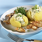Stuffed jacket potatoes with chicken breast