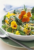 Wild herb and flower salad with egg