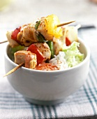 Turkey breast & pepper kebabs with rice & Chinese cabbage