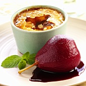 Poached red wine pear with crème brulee