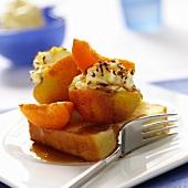 Stuffed peaches on sponge base