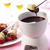 Chocolate fondue with banana