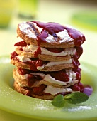 Puff pastry tower with strawberry mousse filling